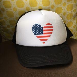 Accessories - Heart American Flag Baseball Hat